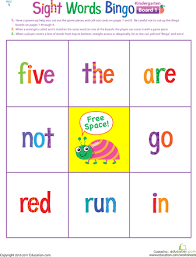 Kindergarten Sight Words Worksheets & Free Printables | Education.comWorksheet. Kindergarten Sight Words Bingo