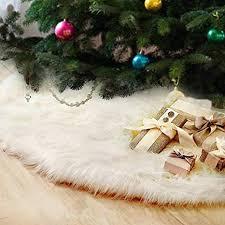 FlowersSea Christmas Tree Skirts 90cm <b>White</b> Luxury Faux Fur ...