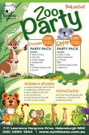 symbio zoo zoo party current zoo party packages birthday party flyer