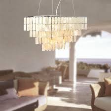Linear Dining Room Lighting Square Natural Shell Chrome 5 Lights Linear Pendant Rustic