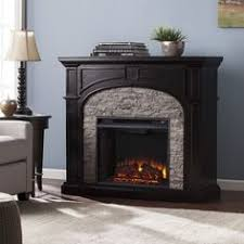 electric fireplace freestanding gray stacked faux stone traditional wood veneer harperblvd fireplace electricfireplace cherry veneer home furniture