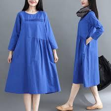 bma111d9015 <b>plain</b> dress loose large size <b>women's</b> fat mm <b>loos</b> ...