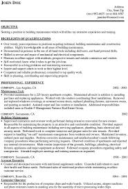 Building Maintenance Resume Example