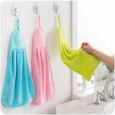 Quick Dry Solid Coral Velvet <b>Hanging Hand Towel Kitchen</b> Supplies ...