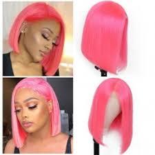 Julia Short Bob <b>Human</b> Hair <b>13x4 Lace Front</b> Wig Pink Purple Red ...