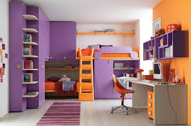 chic small space home interior design ideas with purple orange colors bunk bed and combine with chic small white home