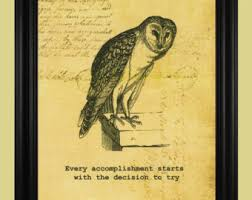 Vintage Owl Illustration Wise Old Owl by TheSpottedBlackbird