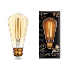 157802008 <b>Gauss LED Filament</b> ST64 E27 8W Golden 740lm ...