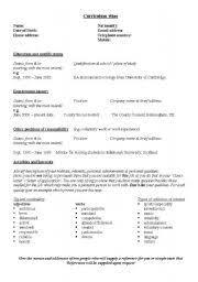 english teaching worksheets  curriculum vitae cvenglish worksheets  cv layout