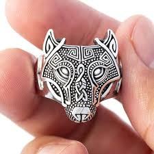 <b>Wolf Head Ring</b> - Sterling Silver | Fenrir Norse / Nordic Viking <b>Rings</b> ...