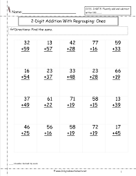 Two Digit Addition Worksheetstwo digit addition with regrouping ones to tens place worksheet