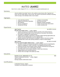 resume education examples for summary with highlights and    resume education examples for summary with highlights and experience as math teacher