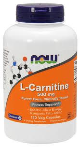 NOW <b>Supplements</b>, L-Carnitine 500mg, <b>Amino Acid</b>, <b>180</b> Veg ...