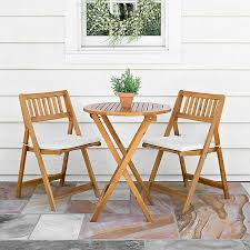 Acacia Wood <b>3</b>-<b>pc</b>. <b>Bistro Set</b> with Cushions | Kirklands