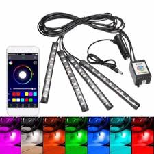 <b>4pcs 12V Car</b> Atmosphere <b>Light</b> App Control Multi-color Interior LED ...