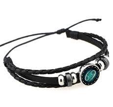 <b>Fashion Jewellery</b> Twelve Constellation <b>Tungsten steel</b> Leather ...