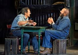 """text to text       of mice and men     and     friendship in an age of    james franco  left  and chris o    dowd in """"of mice and men"""