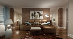 cozy and relaxed fengshui living room with brown sofa and beautiful lamp also brick wall accents and wooden flooring wth turquoise curtains beautiful brown living room