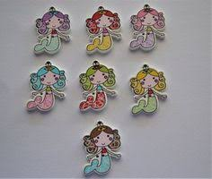 10 x Mermaid Wooden Buttons - 2 Hole - 30mm x 20mm - <b>Mixed</b> ...