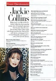 proust questionnaire vanity fair jackie collins proust questionnaire vanity fair