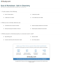 quiz worksheet salt in chemistry com print what is salt in chemistry definition formula worksheet