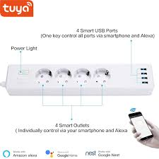 <b>Tuya</b> smart <b>WIFI power strip</b> EU standard with 4 plug and 4 USB port ...