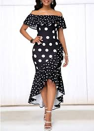 Black Crossover Hem Polka <b>Dot Print Dress</b> | Rosewe.com - USD ...