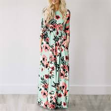 2019 Summer Long <b>Dress</b> Floral Print <b>Boho</b> Beach <b>Dress</b> Tunic ...