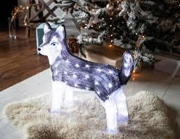 <b>Светящаяся</b> фигура Собака <b>ХАСКИ</b>, акрил, 80 холодных белых ...