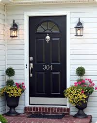 Silver Hardware On A Dark Colored Door Also Like The House Number Placement The U0026middot Black Front   Pinterest
