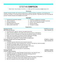 best package handler resume example livecareer choose