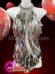 CHARISMATICO A sexy asymmetrical leotard dress with mirror like ...