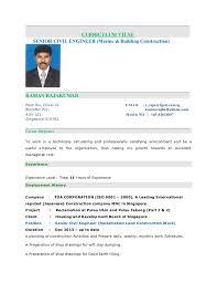 curriculum vitae senior civil engineer marine building construction raman rajakumar pasir ris sample resume for civil engineer