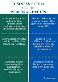 difference between business ethics and personal ethics difference between business ethics and personal ethics infographic