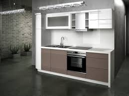 design compact kitchen ideas small layout: small  gray porcelain floor white stain metal ceiling lamp white laminated vinyl wall unit white stain built in kitchen cabinet with va