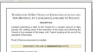 washington 30 day notice of expiration of lease and non renewal by washington 30 day notice of expiration of lease and non renewal by landlord landlord to tenant