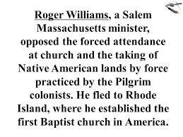 「Roger Williams established first methodist church」の画像検索結果