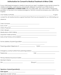 child medical consent form for authorization of medical treatment permission letter for medical treatment