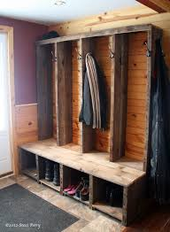reclaimed wood constructed into rustic entryway bench barn wood ideas barn