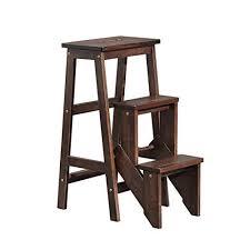 Solid <b>wood</b> Collapsible Step stool 3 steps <b>Multifunction</b> ladder stool ...