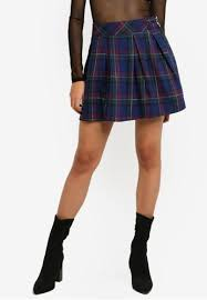 Shop MISSGUIDED <b>Checkered Pleated</b> Buckle Detail Mini <b>Skirt</b> ...