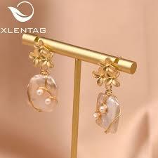 <b>XlentAg</b> Original Design Handmade Flower Drop Earrings <b>Natural</b> ...