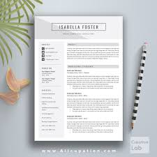 creative resume template modern cv template word cover letter creative resume template cv template cover letter 1 2 3 page word instant mac pc isabella