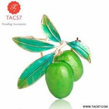 <b>Blucome Enamel Green</b> Pea Brooches For Women Gold-color ...
