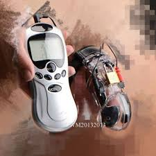 <b>Electric Shock Male Chastity</b> Device Adjustable Cuff E-stim Ring Belt ...