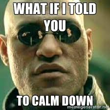 WHAT IF I TOLD YOU to calm down - What If I Told You Meme | Meme ... via Relatably.com