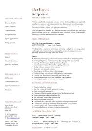 receptionist cv sample