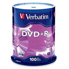 <b>Verbatim DVD</b>+<b>R</b> (<b>4.7 GB</b>) (<b>16X</b>) Branded Surface (Pk=100/Spindle ...