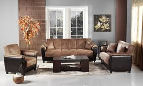 Two Loveseat Living Room Aspen Storage Sleeper Sofa In Two Tone Mocha Microfiber By Sunset