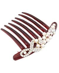 Plastic Lady Women 7 <b>Teeth</b> Hair Combs Pin Clip <b>2pcs</b> Dark Red ...